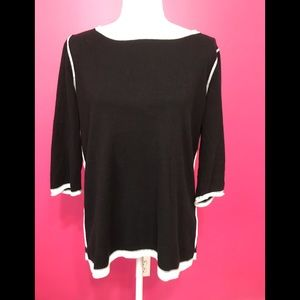 Nice Orvis sweater. Black with white piping, Sz. L
